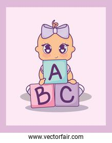 baby shower card with girl and alphabet blocks