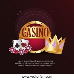 casino poker cards game dices chips board crown