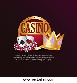 casino poker round sign cards dices and crown