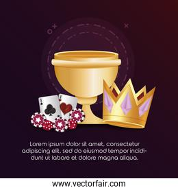 casino poker golden crown cup and cards