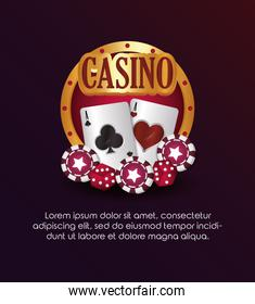 casino poker golden sign cards chips dices
