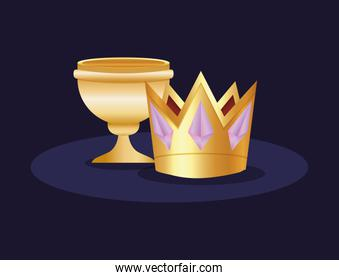 golden luxury trophy cup and crown