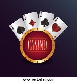 casino poker round badge cards suits game