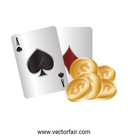 casino poker aces cards coins dollar money