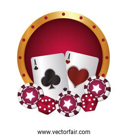 casino poker board cards chip and dices game