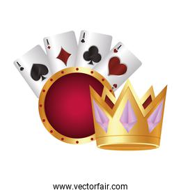 casino poker gold crown cards aces suits