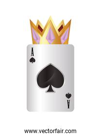 casino poker gold crown and ace card spade