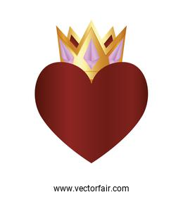 casino poker gold crown and heart