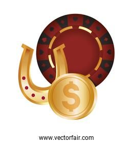 casino poker roulette gold horseshoe and coin