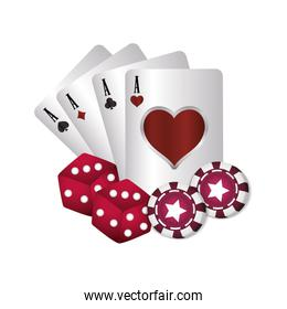 casino poker aces card dices chips