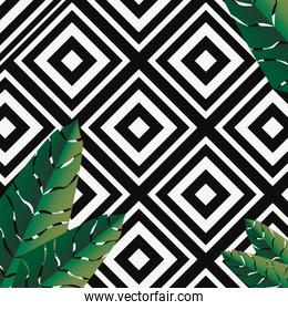 tropical geometric pattern palm leaves template