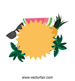 tropical pineapple watermelon sunglasses leaves label template