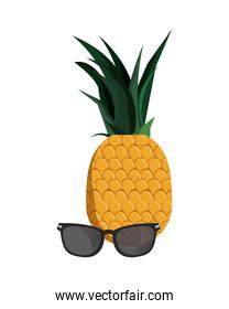 tropical pineapple sunglasses accessory isolated design