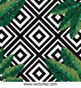 tropical geometric pattern palm leaves background