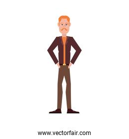 man character standing on white background