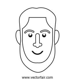 man face outline on white background