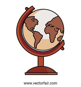 school globe geography on white background