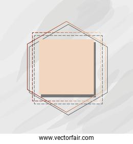 linear frame square label marble template