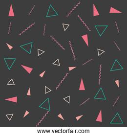 triangles and wavy lines gray memphis background