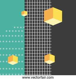 3d cubes dots and grid style memphis background
