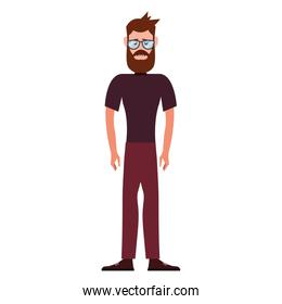 hipster man character on white background