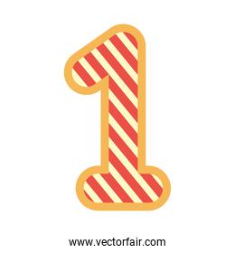 striped number one font on white background