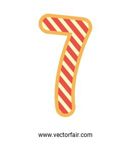 striped number seven font on white background