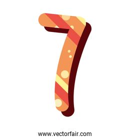 retro number seven font on white background