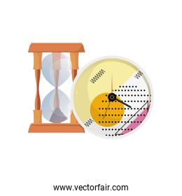 hourglass and round clock time
