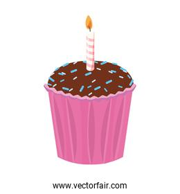celebration birthday cupcake with candle