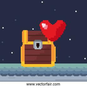 pixel video game treasure chest with heart