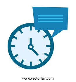 clock time speech bubble on white background