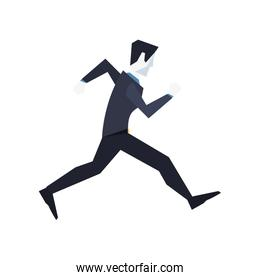 businessman character running to success