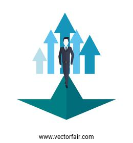 businessman walking on financial arrow