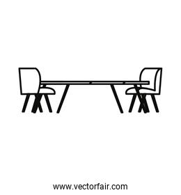 table chairs furniture on white background