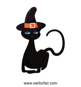 black cat halloween and witch hat