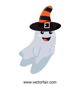 halloween ghost with witch hat