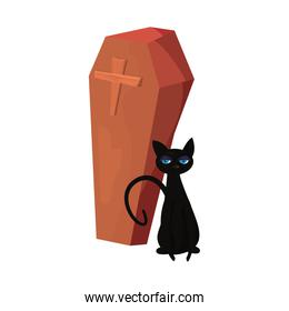 halloween black cat and coffin