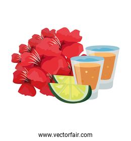 tequila drink lemon slices and flowers