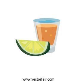 tequila drink and lemon slices