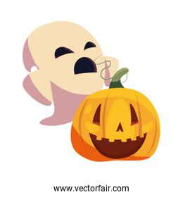 halloween ghost with pumpkin characters