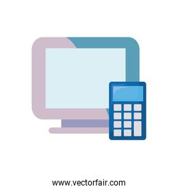 computer calculator on white background