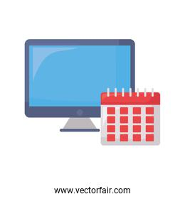 computer and calendar on white background