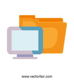 computer and folder  documents
