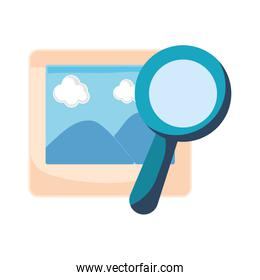 photography magnifying glass white background