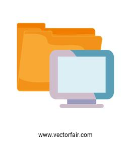 computer and folder on white background