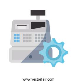 cash register and gear on white background