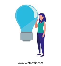 business woman and bulb idea