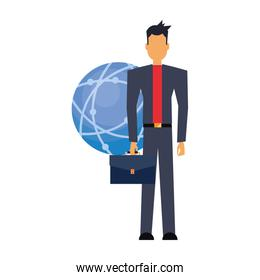 businessman with briefcase and world connection