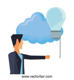 businessman with cloud and bulb